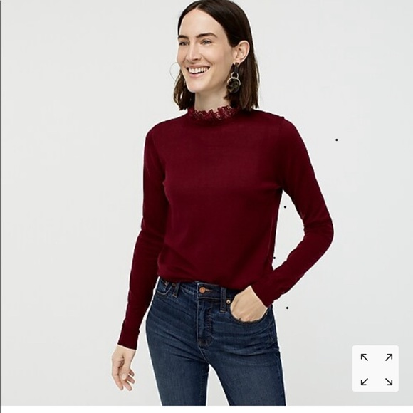 J. Crew Tippi Sweater with Lace Neck BNWT New